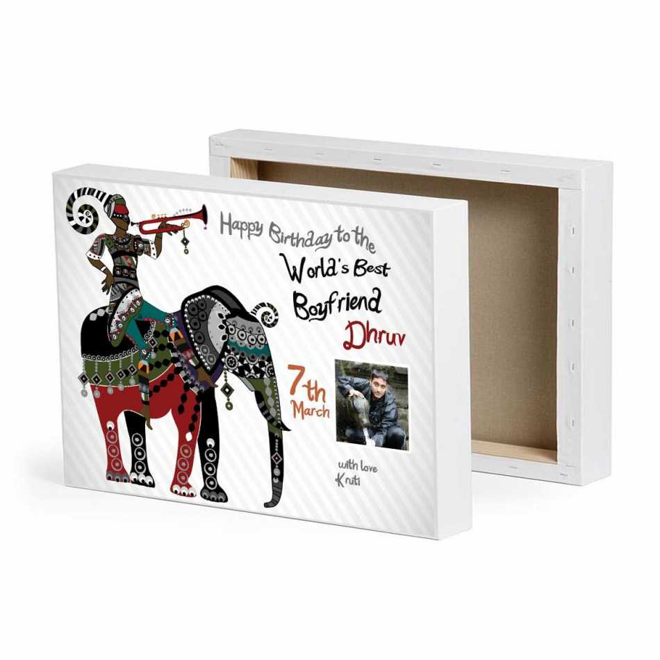 Elephant canvas birthday gifts for boyfriend for Personalized gifts for boyfriend birthday