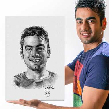 Personalized Pencil Sketch - Him - Canvas