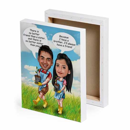 Brother - Sister - Caricature Canvas