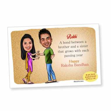 Happy Rakhi - Caricature Magnet