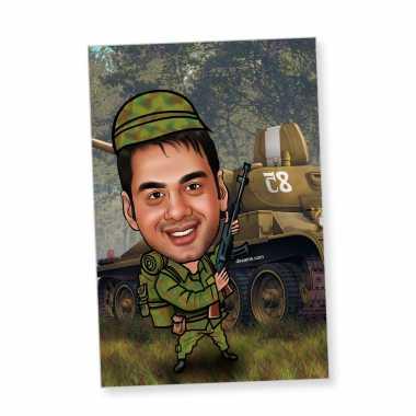 Millitry Man - Caricature magnet