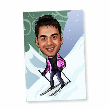 Skiing - Caricature magnet