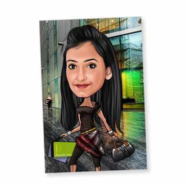 Shopaholic - Caricature magnet