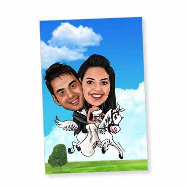 Couple on Horse - Caricature magnet