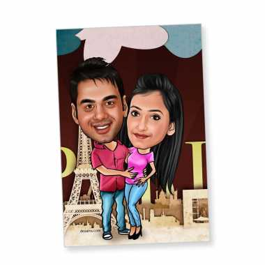 Couple Holding Each Other - Caricature magnet