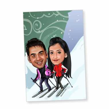 Skiing Couple - Caricature magnet