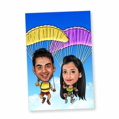 Parachute Couple - Caricature magnet