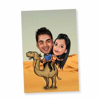Couple on camel - Caricature magnet