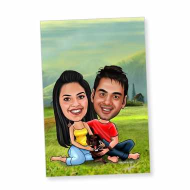Couple with dog - Caricature magnet