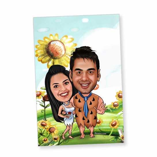 Flintstone Couple - Caricature magnet