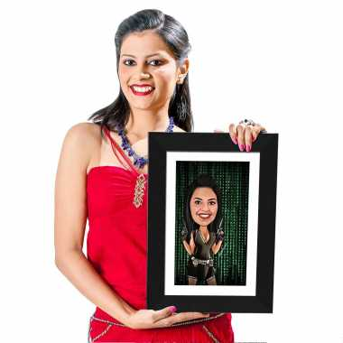 Action Girl - Caricature Photo Frame