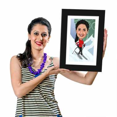 Skiing - Caricature Photo Frame