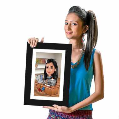 Office Girl - Caricature Photo Frame