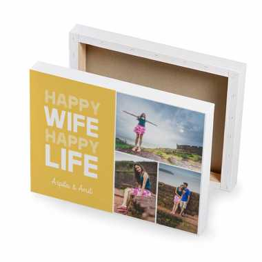 Happy Wife - Happy Life - Photo Canvas