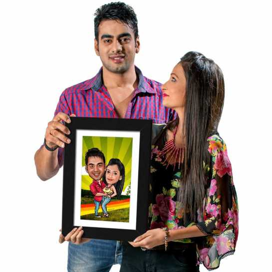 Holding Tight - Caricature Photo Frame
