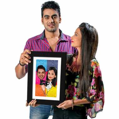 Wine Couple - Caricature Photo Frame