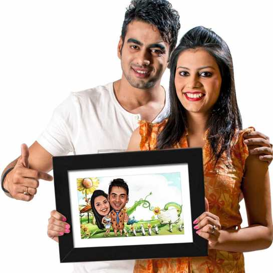 Flinstone Couple - Caricature Photo Frame