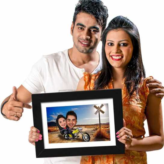Couple Cruiser - Caricature Photo Frame