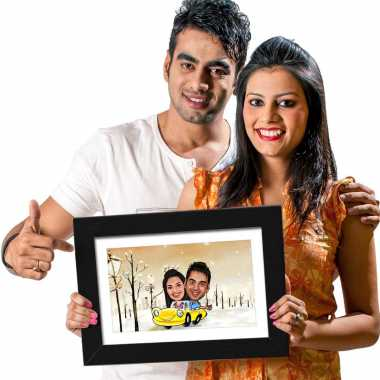 Couple in Car - Caricature Photo Frame