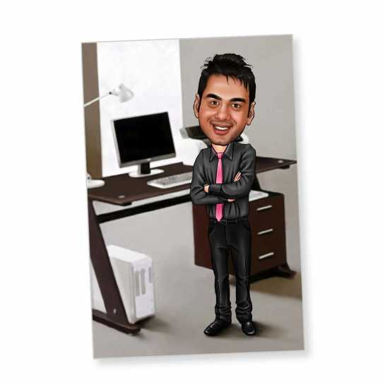 Manager - Black - Caricature Fridge Magnet