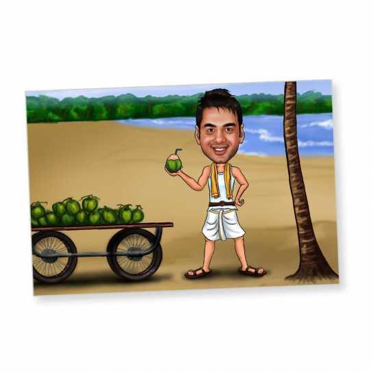 Vacation on Beach - Caricature Fridge Magnet