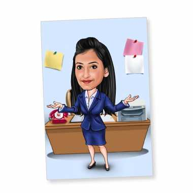 Office Girl (Dark Blue Dress) - Caricature Fridge Magnet
