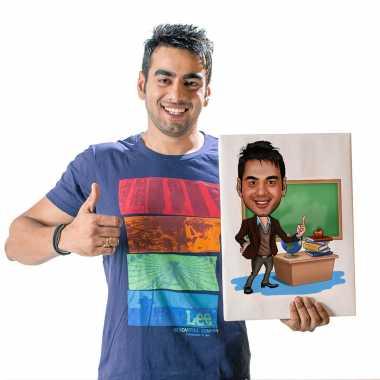 Teacher - Caricature Canvas