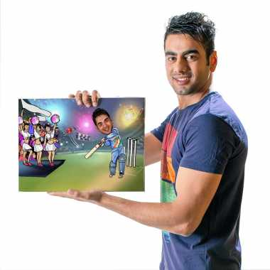 Cricketer - Caricature Canvas