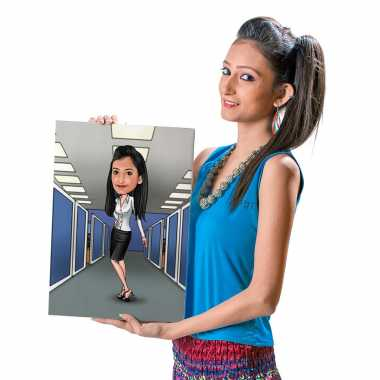 Office Girl (Standing) - Caricature Canvas