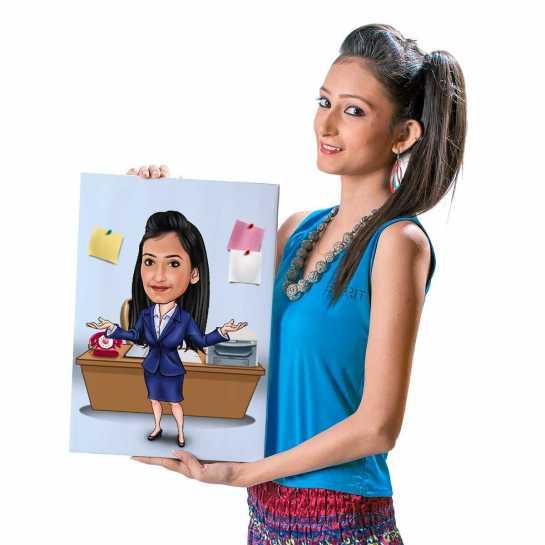 Office Girl (Dark Blue Dress) - Caricature Canvas