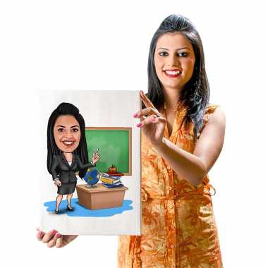 Office Girl (Black Dress) - Caricature Canvas