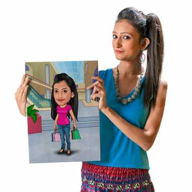 Shopping in Mall - Caricature Canvas