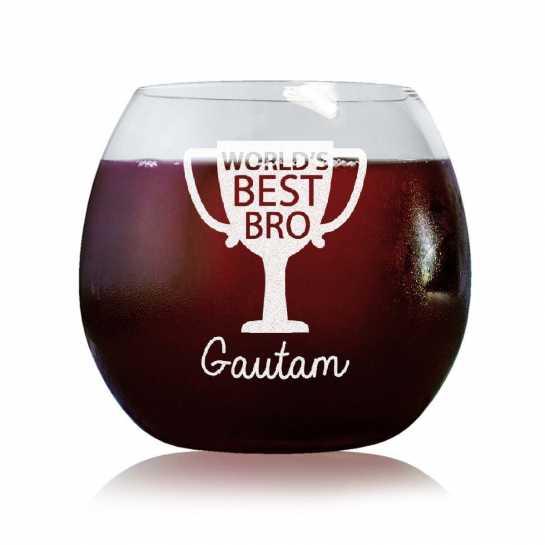 World's Best Bro - Stylish Wine Glasses