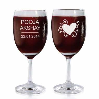 Graphic Heart - Wine Glasses