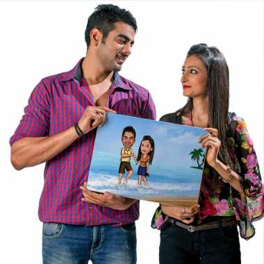 Couple on Beach - Caricature Canvas