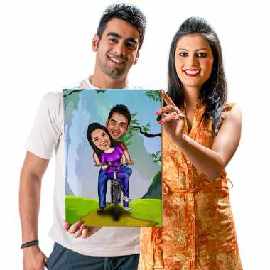 Cycling Couple - Caricature Canvas