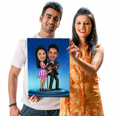Singing Couple - Caricature Canvas