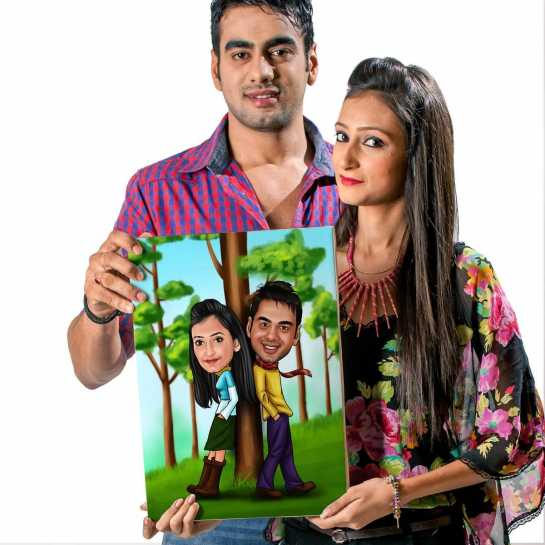 Filmi Couple - Caricature Canvas