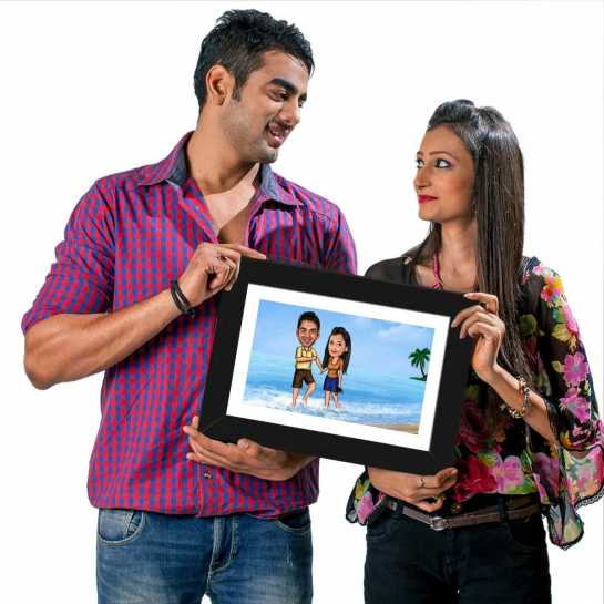 Couple on Beach - Caricature Photo Frame