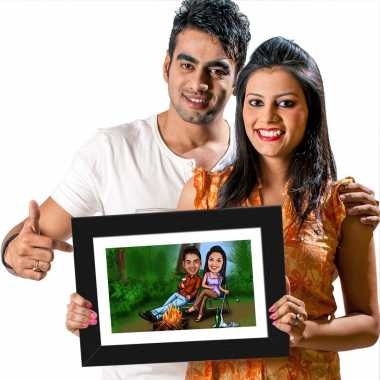 Camping Couple - Caricature Photo Frame