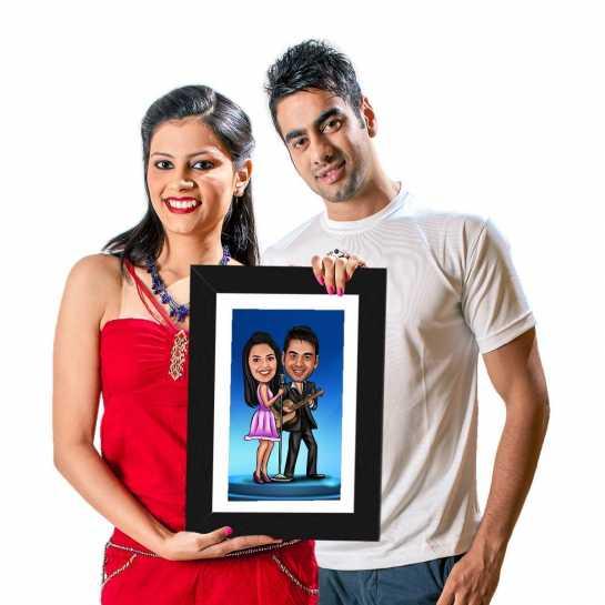 Singing Couple - Caricature Photo Frame