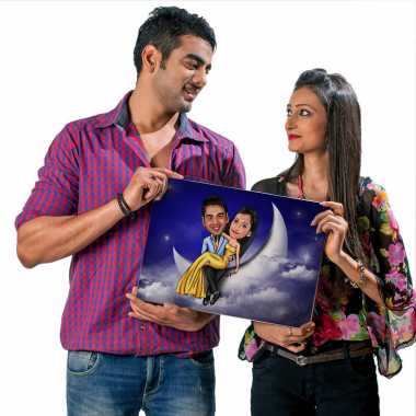 Couple on Moon - Caricature Canvas
