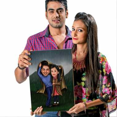 Couple in Rains - Caricature Canvas