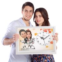 Couple on Horse - Caricature Canvas Clock