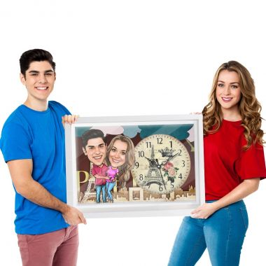 Holding Tight - Personalized Caricature Canvas Wall Clock