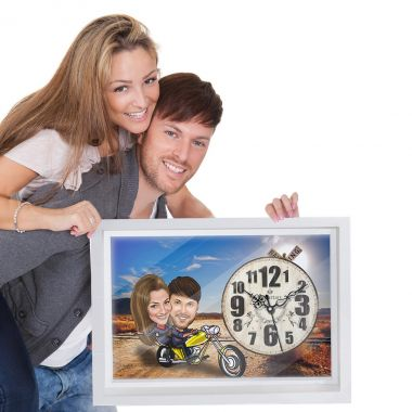 Couple Cruiser - Caricature Personalized Wall Clock