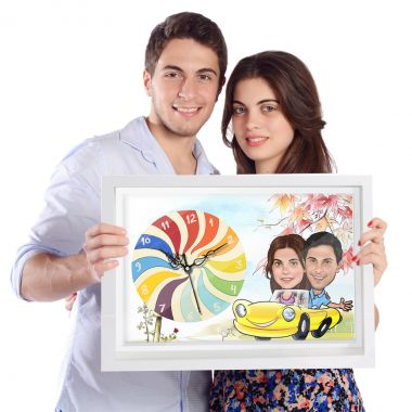 Couple in Car - Caricature wall Clock