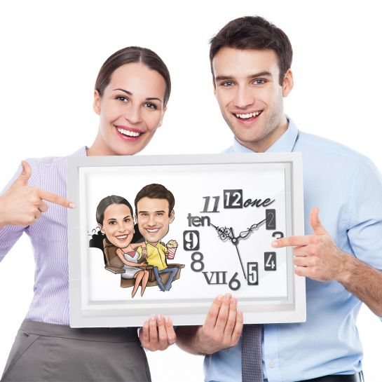 Couple in Theater - Caricature Wall Clock