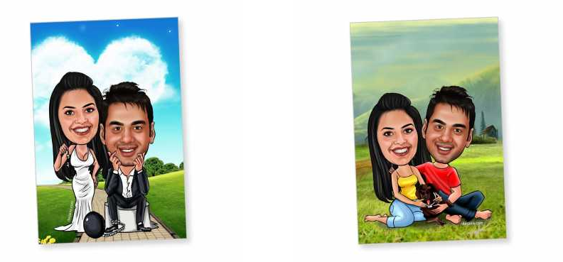 valentines day caricature magnets