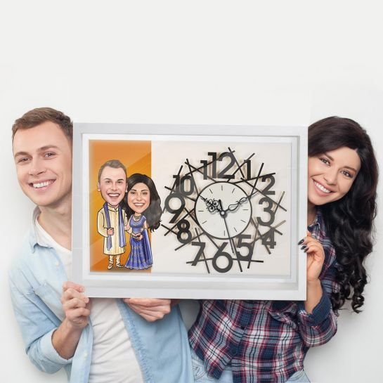 anniversary gifts for husband - caricature clock